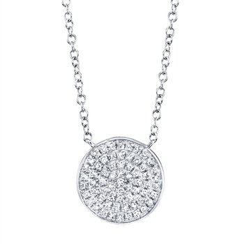 Diamond Pave Disc Necklace