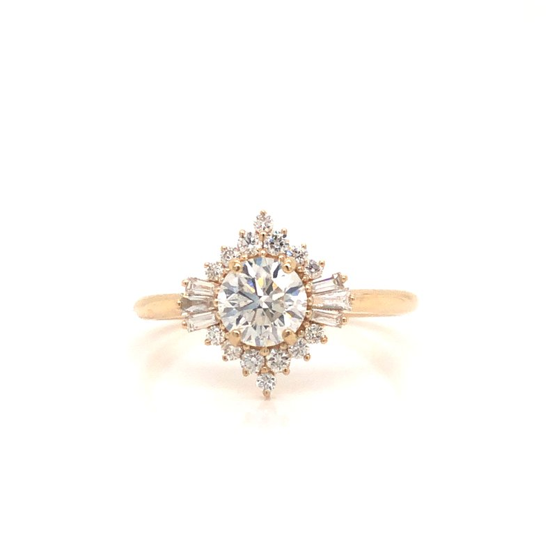 Cline Custom Round Brilliant Diamond Halo Ring