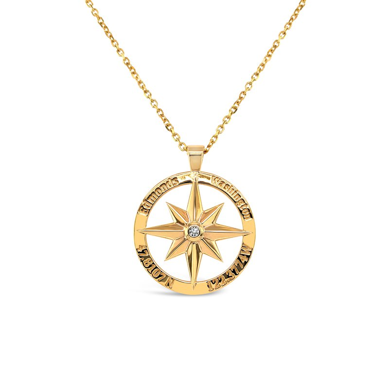 Cline Custom Edmonds Compass Pendant with Diamond