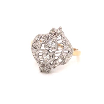 Estate Diamond Double Heart Ring