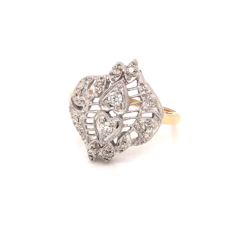 Cline Estate Diamond Double Heart Ring