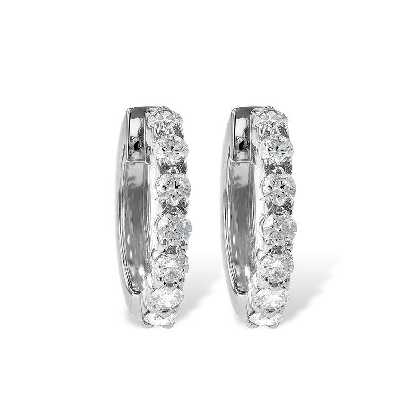 Cline 14k White Gold Diamond Hoop Earrings