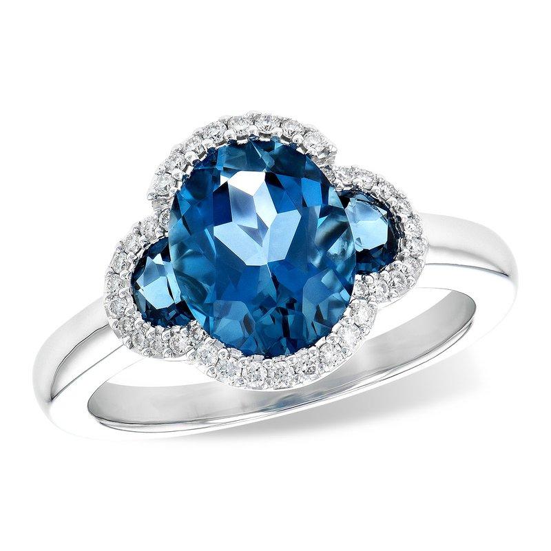 Cline London Blue Topaz and Diamond Ring