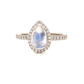 Moonstone and Diamond Ring