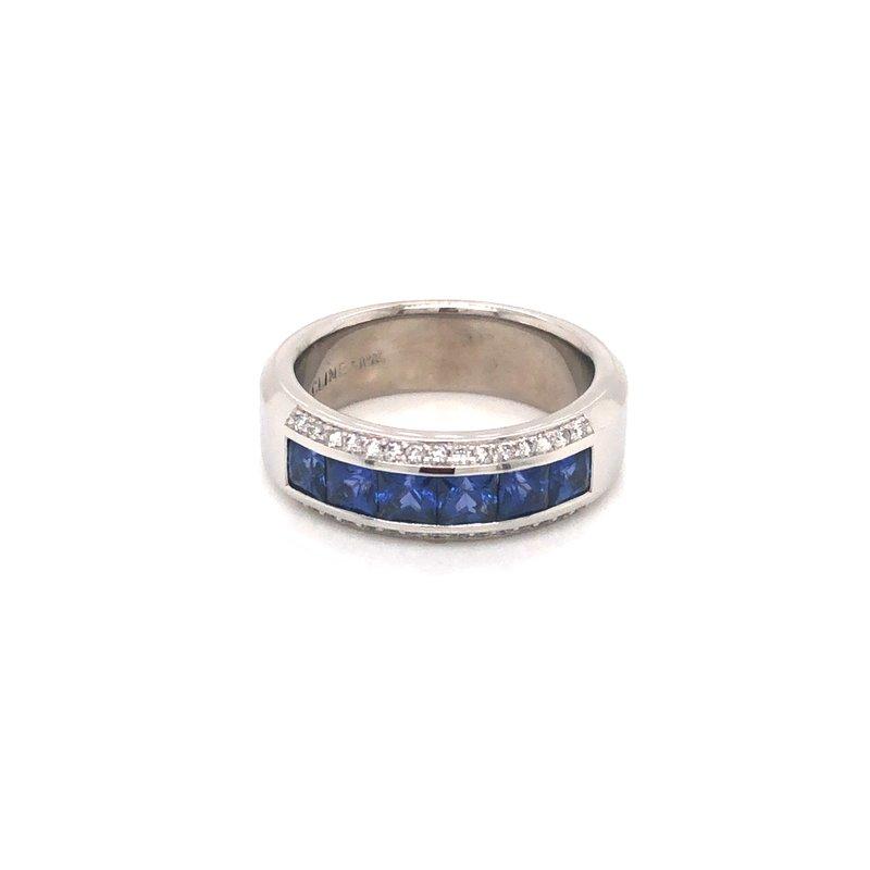Cline Custom Channel Set Sapphire and Diamond Ring