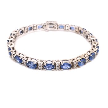 Cline Custom Blue Sapphire and Diamond Bracelet