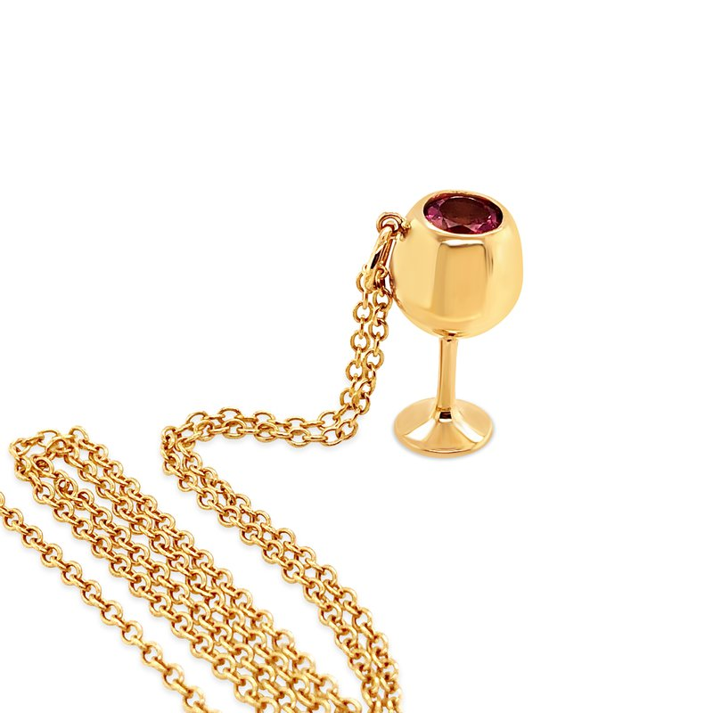 Cline Custom Yellow Gold with Rose Wine Glass