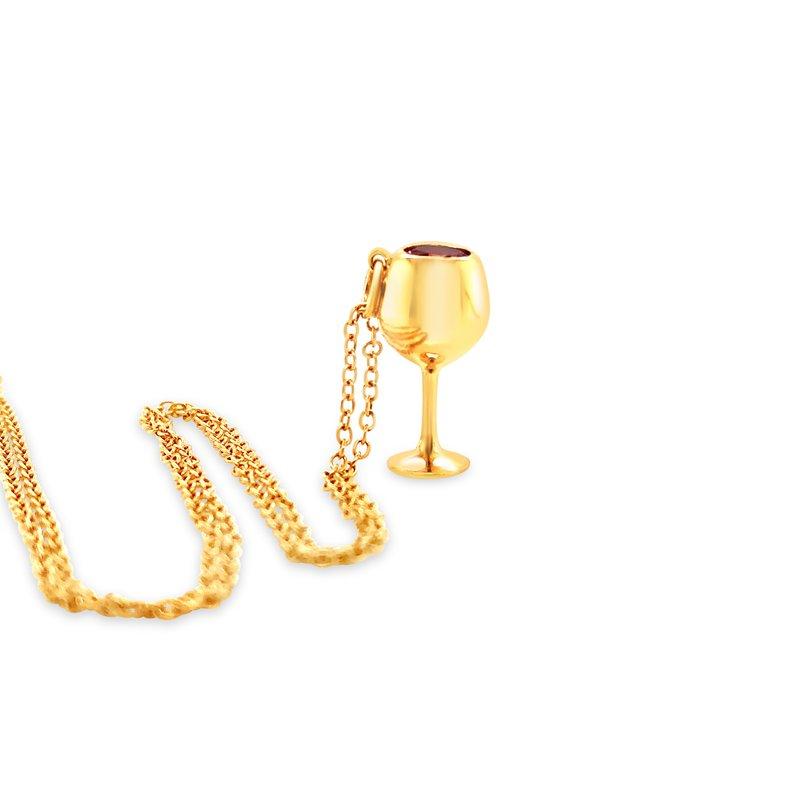"Cline Custom Yellow Gold ""Rose"" Wine Glass"