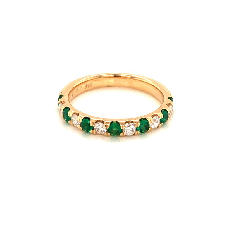 Cline Custom Emerald and Diamond Band