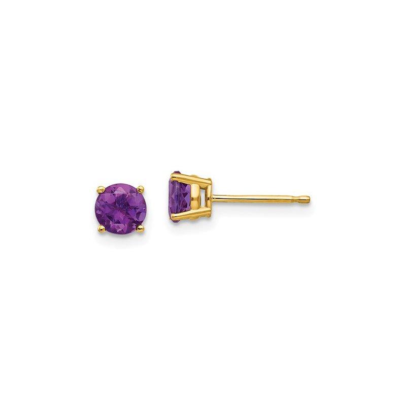 Cline 14k Yellow Gold Amethyst Stud Earrings