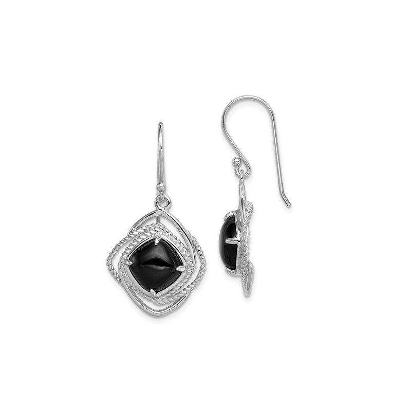 Cline Sterling Silver and Onyx Dangle Earrings