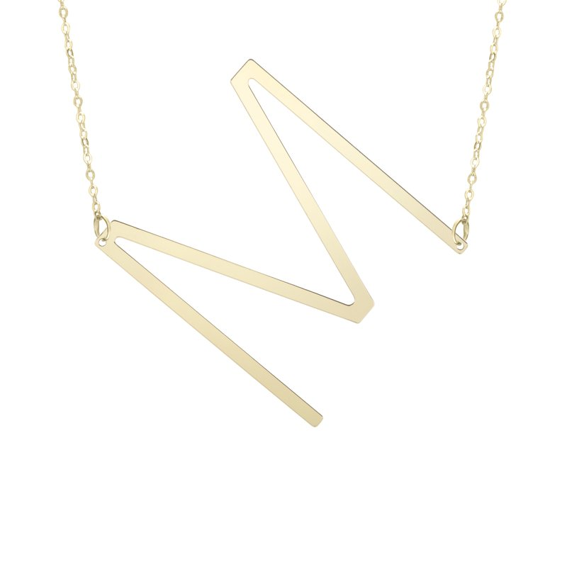 """Cline 14k Yellow Gold """"M"""" Initial Necklace"""
