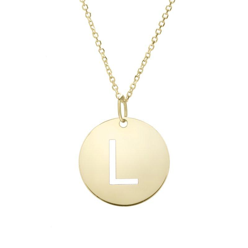 "Cline 14k Yellow Gold ""L"" Initial Pendant"