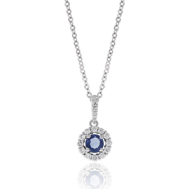 Cline 14k White Gold Sapphire and Diamond Pendant