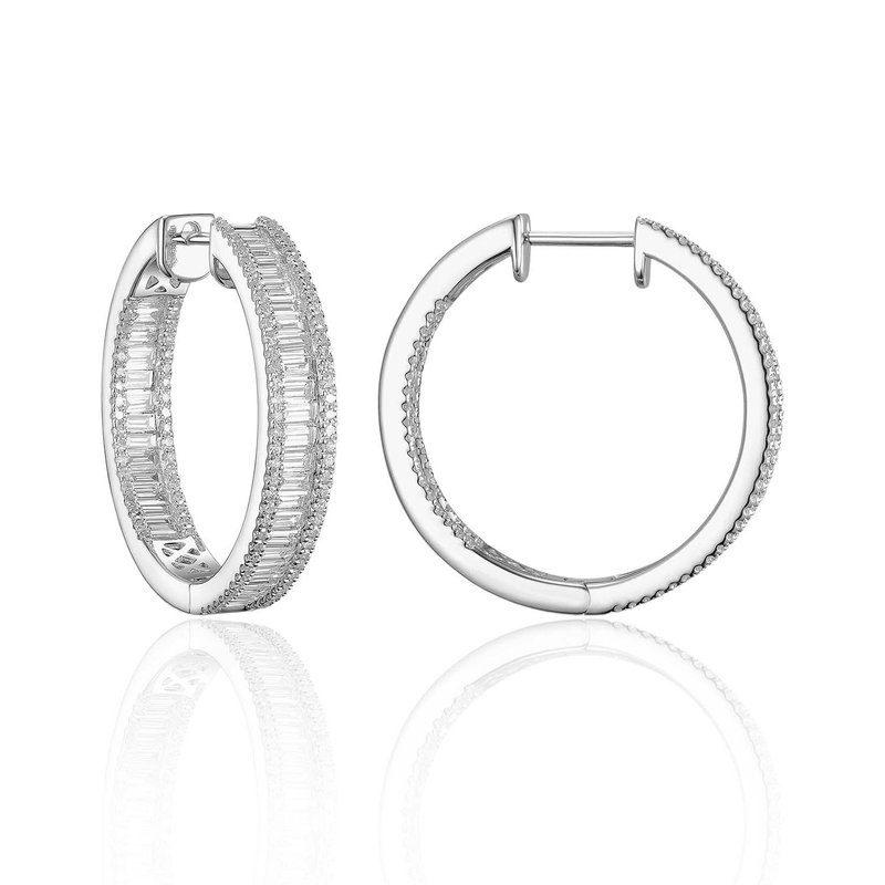 Cline Baguette Diamond Hoops