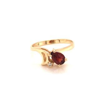 Estate Garnet and Diamond Ring