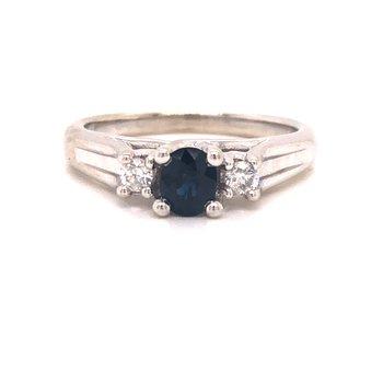 Estate 3-Stone Sapphire and Diamond Ring