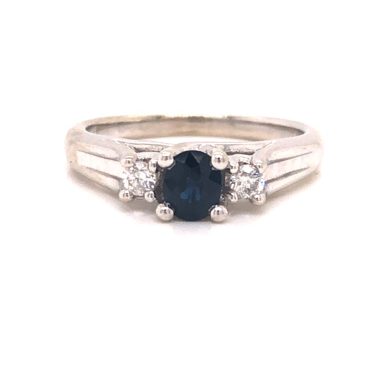Cline Estate 3-Stone Sapphire and Diamond Ring