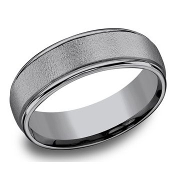 Tantalum Ring with Wire Brush Center and Polished Edges