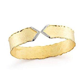 14k Yellow Gold Diamond Cuff Bracelet