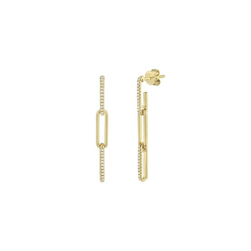 Cline 14k Yellow Gold and Diamond Paperclip Earrings