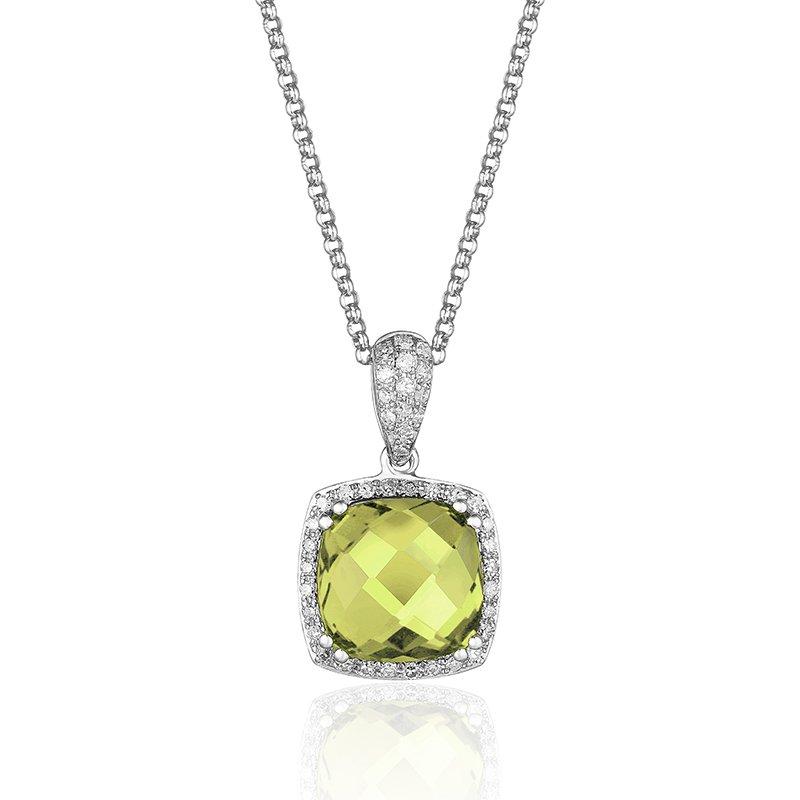 Cline 14k White Gold Peridot and Diamond Pendant