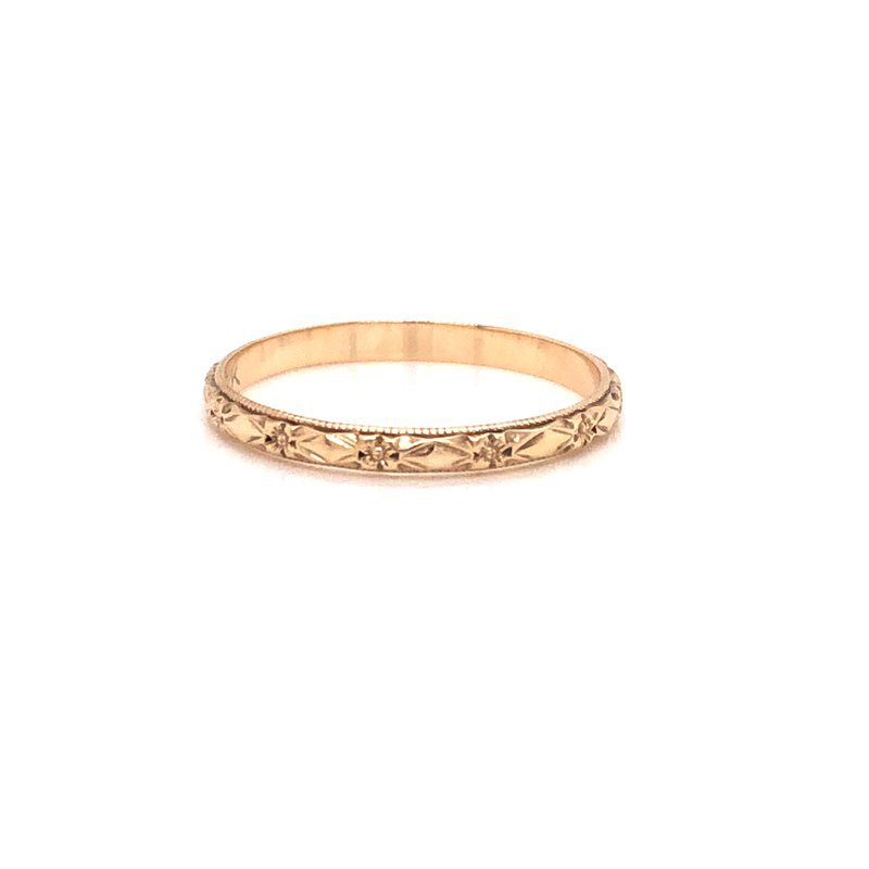 Cline Estate 10k Yellow Gold Engraved Band