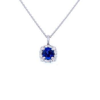 14KW 0.80ct Sapphire & Diamond Pendant