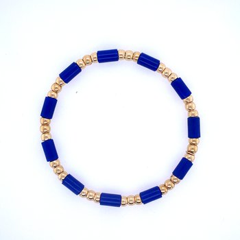 18 Yellow Gold & Dark Blue Bead Bracelet