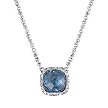 Crescent Embrace Cushion Gem Necklace with London Blue Topaz