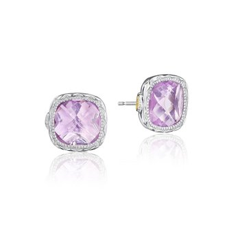 Crescent Embrace Cushion Gem Earrings with Rose Amethyst