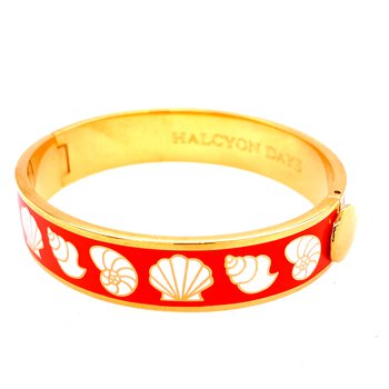 13mm GP Orange Enamel Seashell Bangle