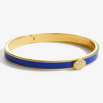 Skinny Pave Button Deep Colbalt and Gold Bangle