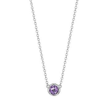 Amethyst Petite Crescent Crown Gem Necklace