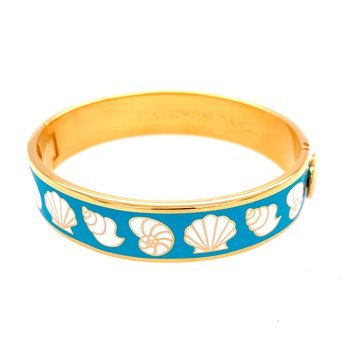 13mm GP Turquoise Enamel Seashell Bangle