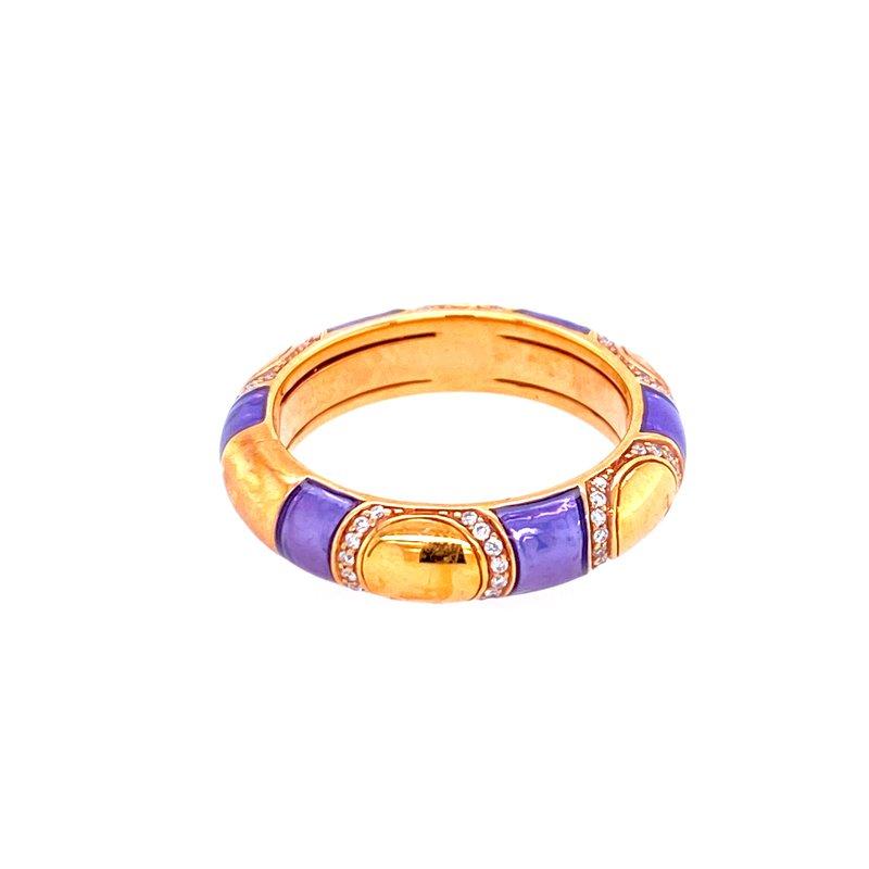 Designer Clearance Sale The Henderson Collection 18KY Purple Enamel & Diamond Band