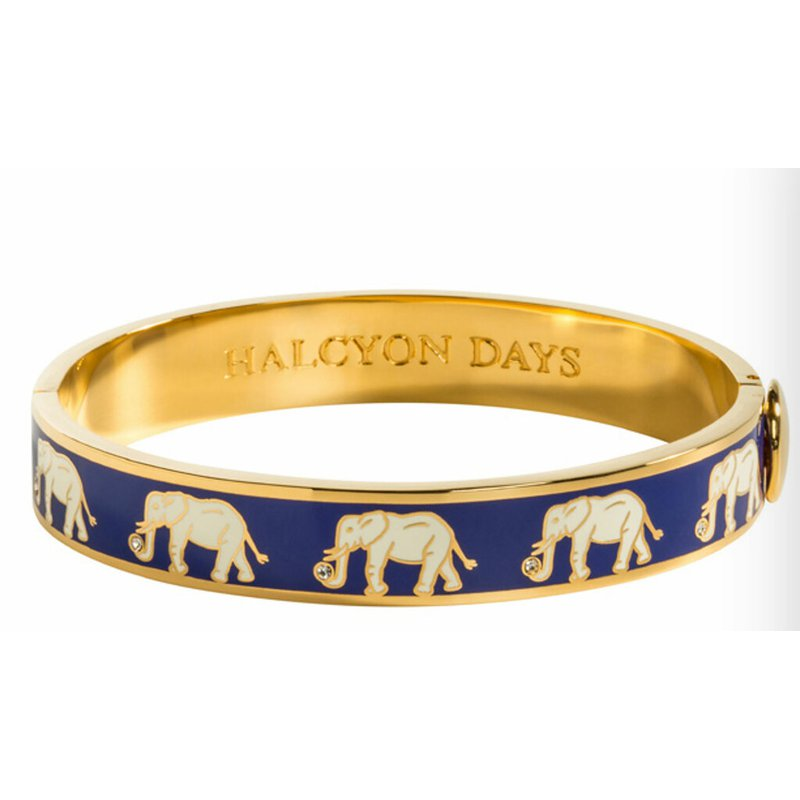 Halcyon Days  Elephant Motif Cobalt and Gold Bangle