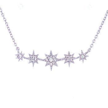 SS White Sapphire Star Bar Necklace
