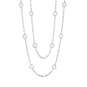 """Crescent Crown 38"""" Chalcedony Candy Drop Necklace"""