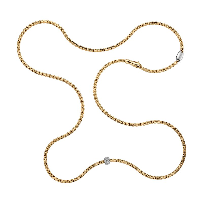 "FOPE 18KT ""EKA Tiny Collection"" Long Diamond Pave Necklace"