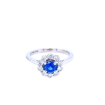 14KW 0.76ct Sapphire & Diamond Ring