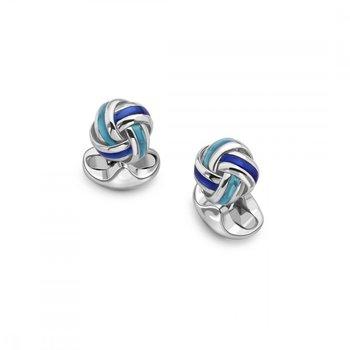 SS Blue Enamel Knot Cufflinks