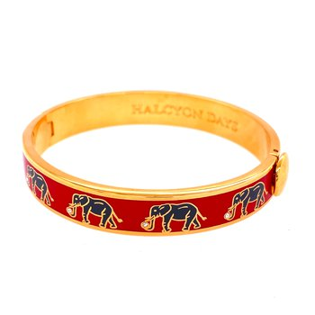 10mm GP Red & Gray Enamel Elephant Bangle