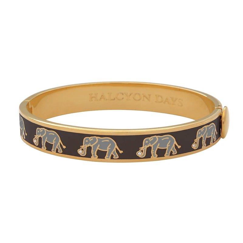 Halcyon Days  Elephant Motif Black and Gold Bangle