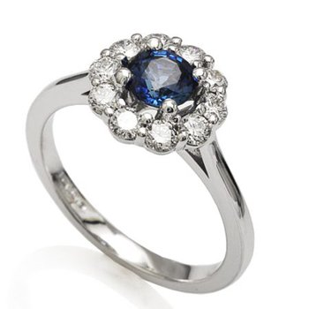 Round Sapphire Halo Ring