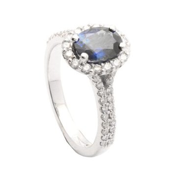 Oval Sapphire Pave Halo Ring