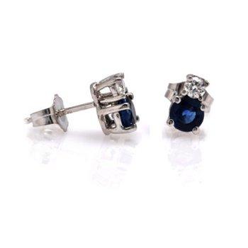 Blue Sapphire and Diamond Studs