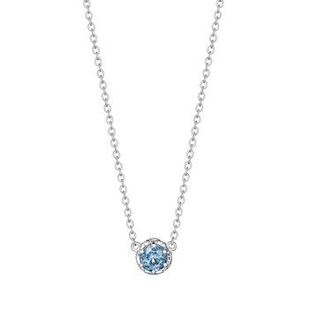 London Blue Topaz Petite Crescent Crown Gem Necklace