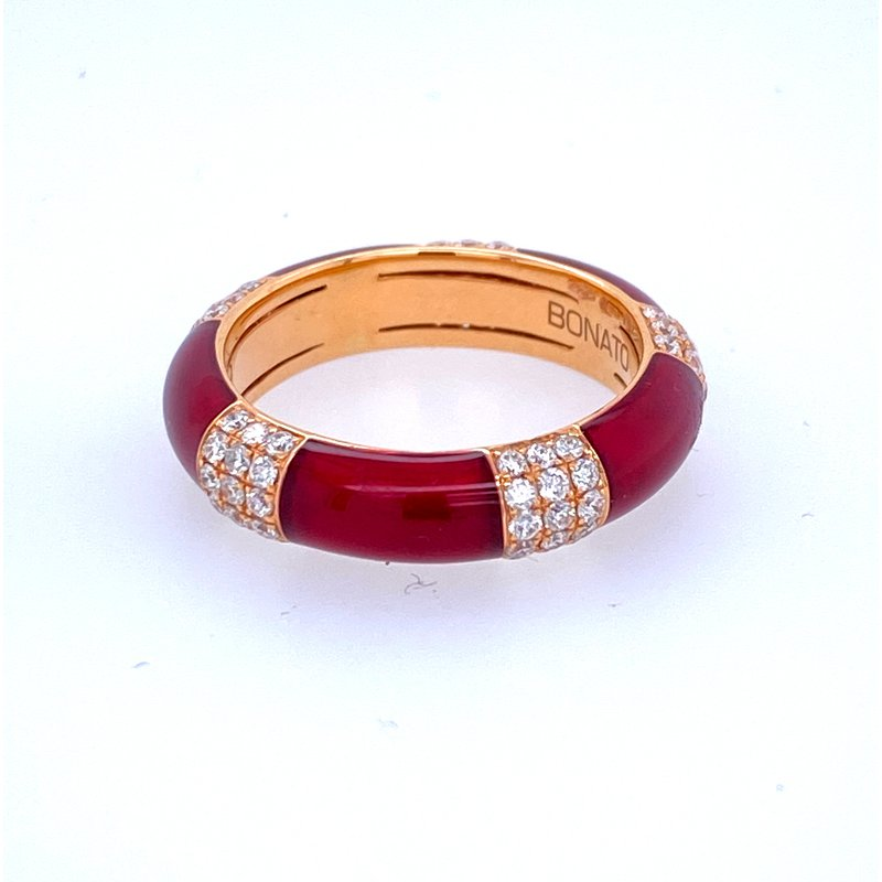 Designer Clearance Sale The Henderson Colection 18KR Red Enamel & Diamond Band