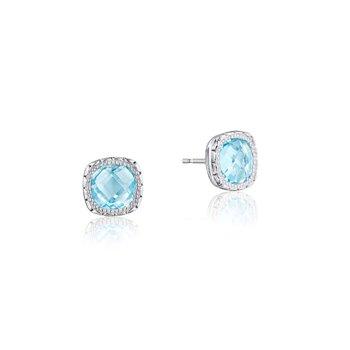 Crescent Embrace Cushion Gem Earrings with Sky Blue Topaz